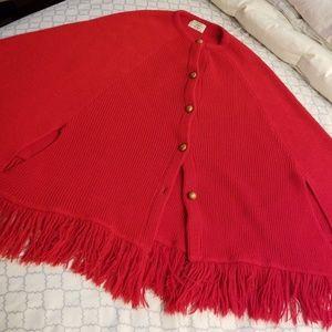 Vintage red fringe cape